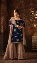 Designer Embroidery Work And Santoon Palazzo Sharara