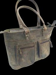 Two Front Pocket Buffalo Leather Tote Bag