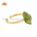 Handmade Gold Plated Designer 925 Silver Peridot Gemstone Rings
