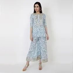 Sky High Cotton Kurti Set