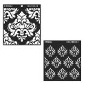 White Square Craftreat Bold Damask & Damask Background Stencil