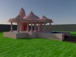 Red Sandstone Temple Construction