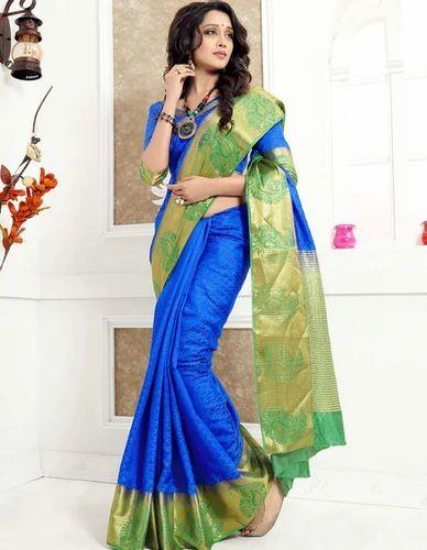 149507ce1b Saree Length 5.50 Meter Blouse Length 0.8 Meter Banarasi Blue And Green Jacquard  Silk Saree