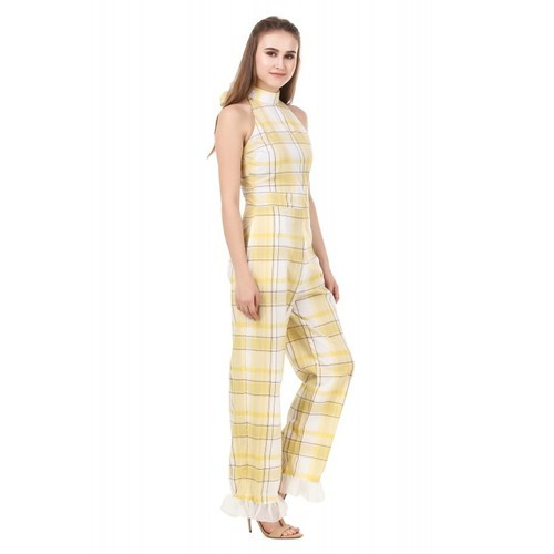 dac5b6b700e Cotton Checked Jumpsuit For Ladies