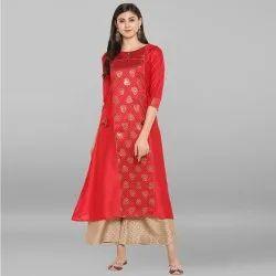 Red Poly Silk Kurta With Palazzo(SET038)