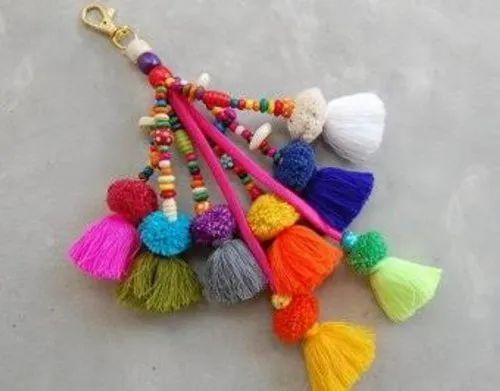 Colorful Cotton Pom Pom Key Ring