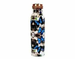 Butter Fly Digital Meena Print Copper Bottle