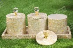 Mother Of Pearl Jars With Tray (4 Pcs Set)