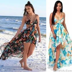 Women Chiffon Beachwear Garment Fabric, Floral, Multicolour