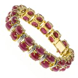 Ruby Diamond Bangle Hallmarked Gold Gemstone Bangle
