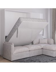 Wall Bed with L Sofa .
