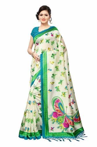 e9d3ffa473 Khadi Silk Printed Party Wear Saree With Tassel, Rs 370 /piece   ID ...