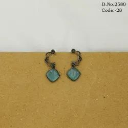 Designer Ethnic Glass Stone Hanging Earrings