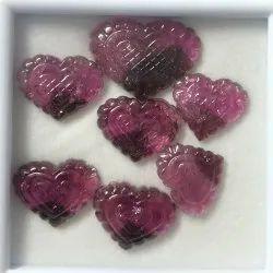 Natural Pink Tourmaline Stone Heart Shape Carving Gemstone