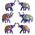 Meenakari Elephant Set - Wedding Gifts - Hand Painted Animal Figurines Statues
