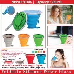 H-304 Foldable Silicone Water Drinking Glass, Capacity: 250 Ml