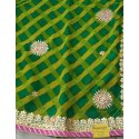Party Wear Base Green Designer Gota Patti Saree, Size: 6.3 M (with Blouse Piece)