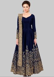 Carbon Blue Silk Heavy Anarkali Suit
