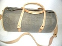 Gray Canvas Leather Travel Bag