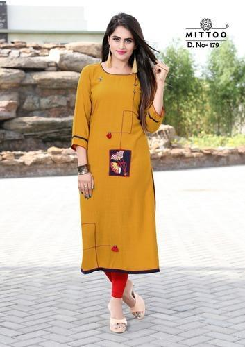 d42f9301a7 Heavy Rayon Embroidered Mittoo Payal Vol 7 Rayon Straight Long Kurtis  Collection