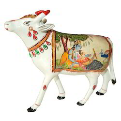 Metal Cow With Radha Krishna Painting Work