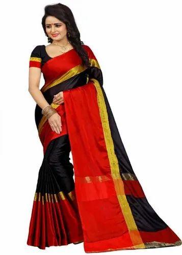 116b24ec993 Solid Daily Wear Black Cotton Silk Saree (Black) at Rs 199  piece ...