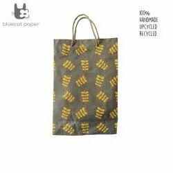 Linen Carry Bag (L) - orange twig leaf print, jute rope handles