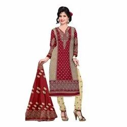Rajnandini Cream And Maroon Cotton Printed Unstitched Dress Material
