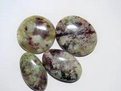 Rubellite Pink Tourmaline In Quartz Stone Cabochon