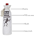 Cotton White Digital Printed Wine Bottle Bag For Gift