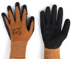 Brown Nylon Shell With Black Crinkle Latex Palm Coated Gloves