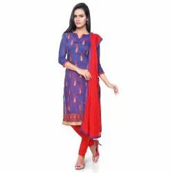 Navy Blue Coloured Chanderi Unstitched Salwar Suit