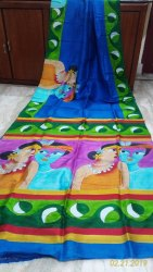 Party Wear Hand Painting On Pure Murshidabad Silk Saree, Without Blouse Piece