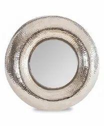 Brass Hammered Tyre Round Wall Mirror