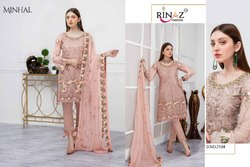 Rinaz Present Minhal Georgette Embroidery Pakistani Suits Collection