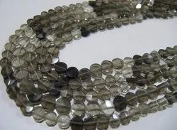 Natural Smoky Quartz Coin shape Faceted Shaded Color Beads 5mm Strand 13 inches Long