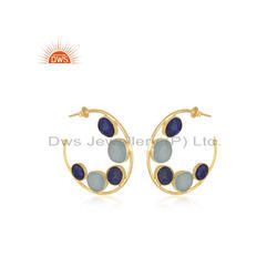 Aqua Chalcedony Lapis Gemstone Womens Gold Plated Silver Hoop Earrings