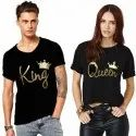 Casual Wear Black Cotton Couple T Shirt