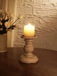 Decorative Wooden Candle Stand And Candle Holder