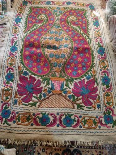 Felt Rug Wool Kashmir Hand Embroidered Felted Namda Kilim