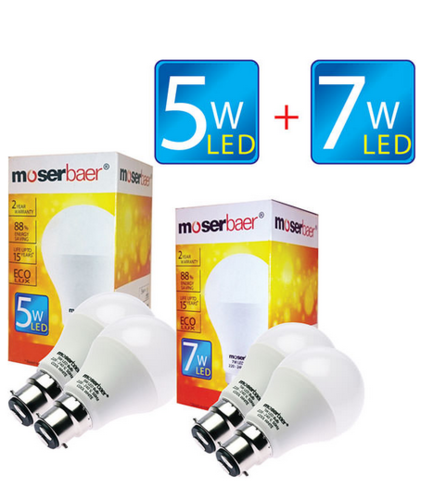 5W And 7W ECO LED Bulb B22 Pack of 4