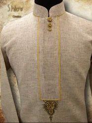 Light Cream Brown Small Checks Kurta With Embroidery