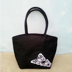 Black Ladies Jute Handbag
