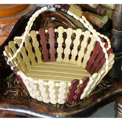 Brown And White Wooden Basket