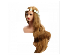 30 Inch Long  Real Hair Head With Shoulder Blond Practice Dummy