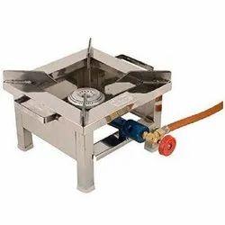 1 Stainless Steel Single Burner Gas Stove, Burner Material: Brass