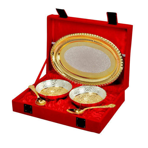 Brass Gold Plated Bowl Set Of Two
