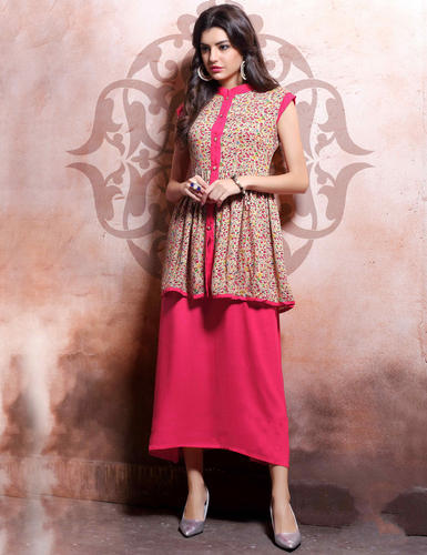aeec98f19a New Cream And Pink Rayon Cotton And Linen Anarkali Suit, Anarkali ...