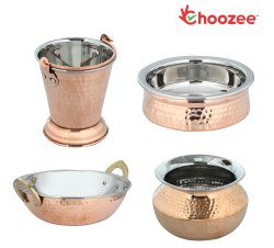 Choozee - Copper Serving Items Set of 4 Pcs (Including Bucket, Kadhai and Dahi Handi) (800Ml)