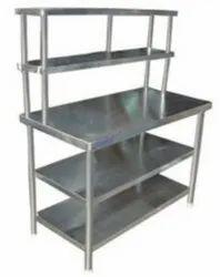 Polished SS WORK TABLE, For Restaurant, Number of Shelves: 3